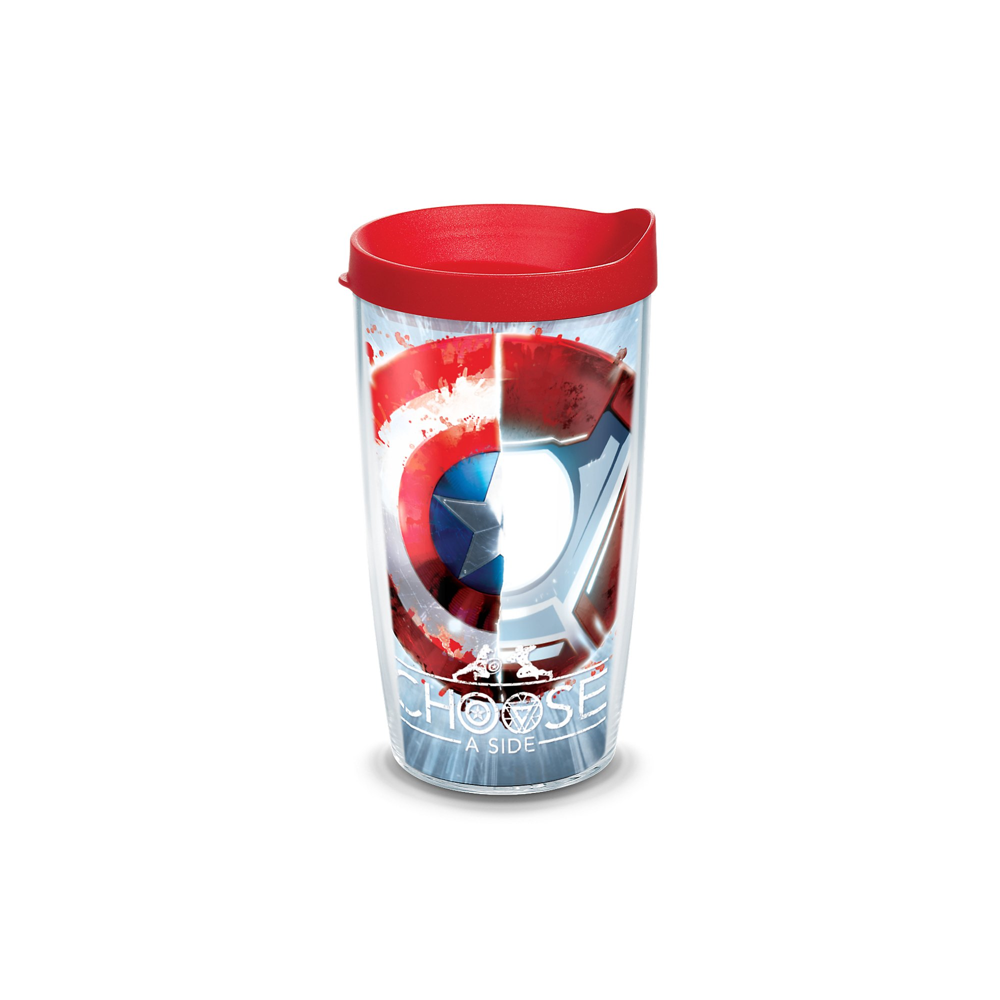 Tervis Marvel Captain America Movie Shield Wrap 16oz Tumbler with Red Lid, Clear