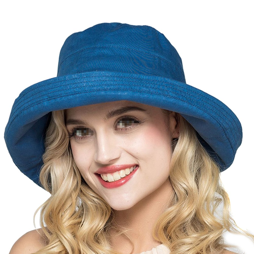 25fa62ba5e74d TININNA Women Summer Soft Linen Sunhat Packable Wide Brim Floppy Bucket Hats  Beach Sun Hat (Navy blue)  Amazon.co.uk  Kitchen   Home