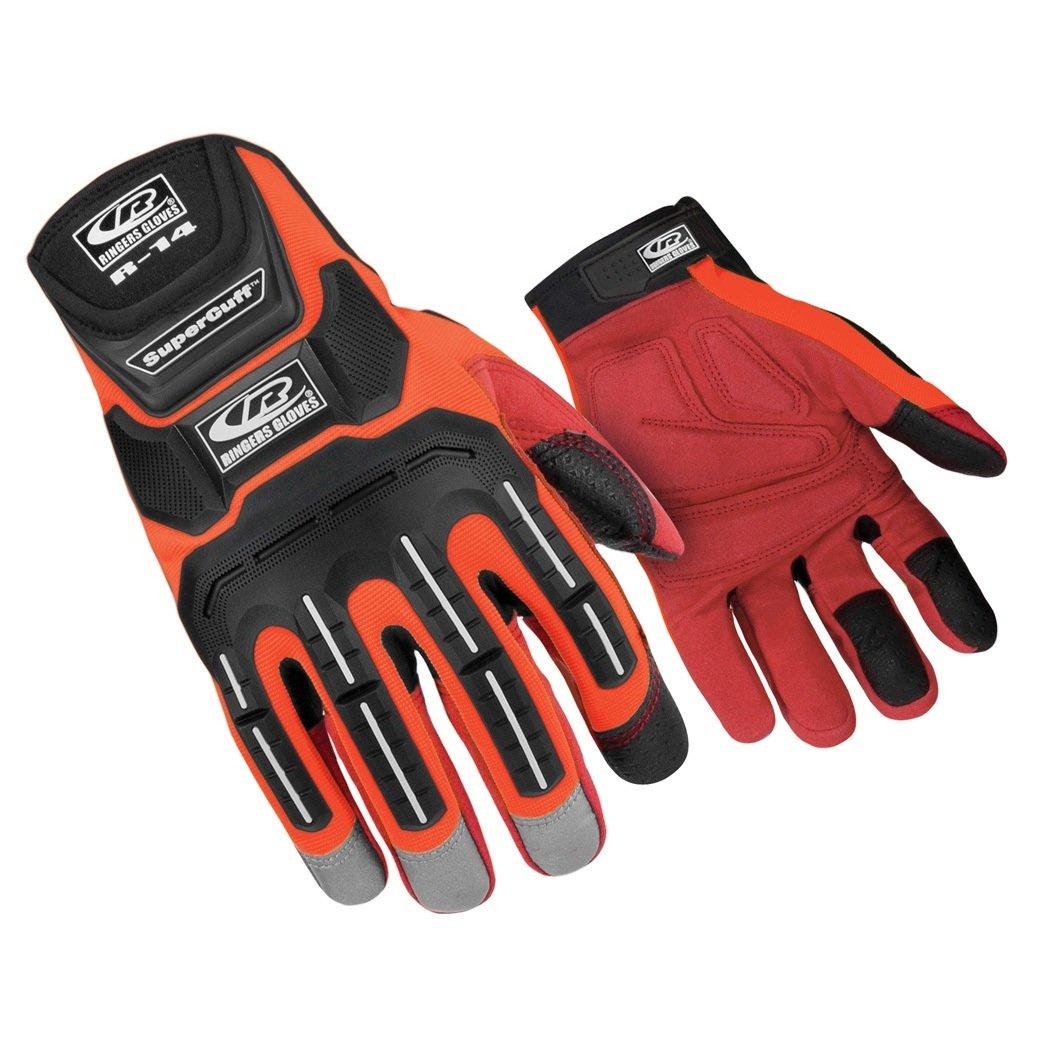 Ringers Gloves R-14 Mechanics Orange, Cut and Impact Protection, Padded Palm, Medium