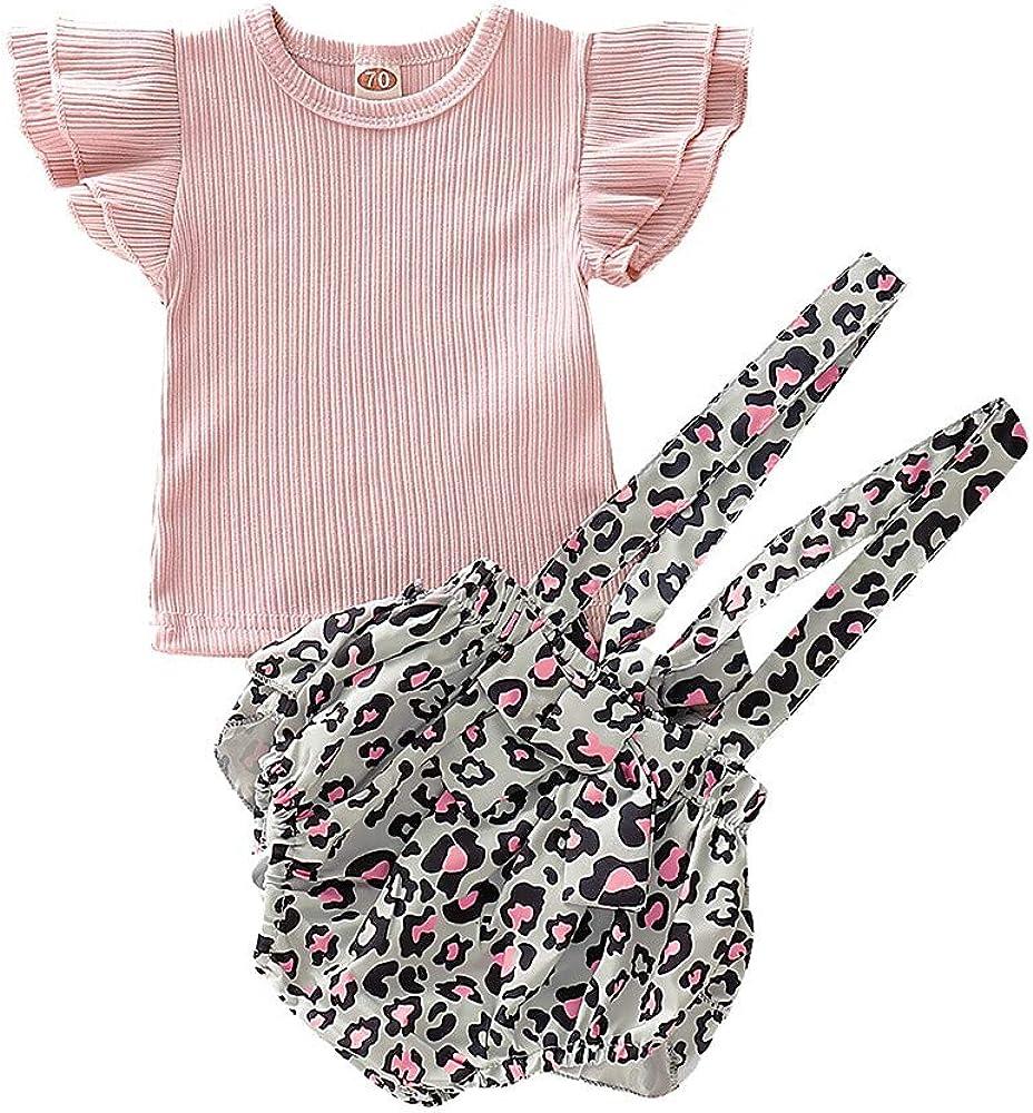 YWLINK Conjunto NiñA Bebé Volando Mangas Camisa De Color SóLido Camiseta Manga Corta+Honda Estampada Leopardo Pantalones Cortos Ropa Moda Linda AlgodóN Vestido De Fiesta(Rosado, 3-6 meses/70): Amazon.es: Ropa y accesorios