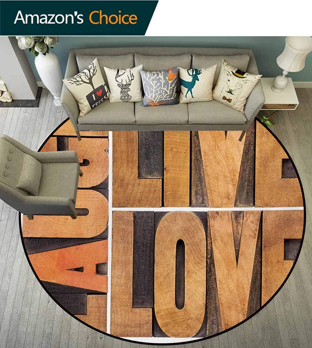 RUGSMAT Live Laugh Love Carpet Gray Round Area Rug,Macro Calligraphy with Life Message Inspirational Digital Graphic Pattern Floor Seat Pad Home Decorative Indoor,Diameter-55 Inch