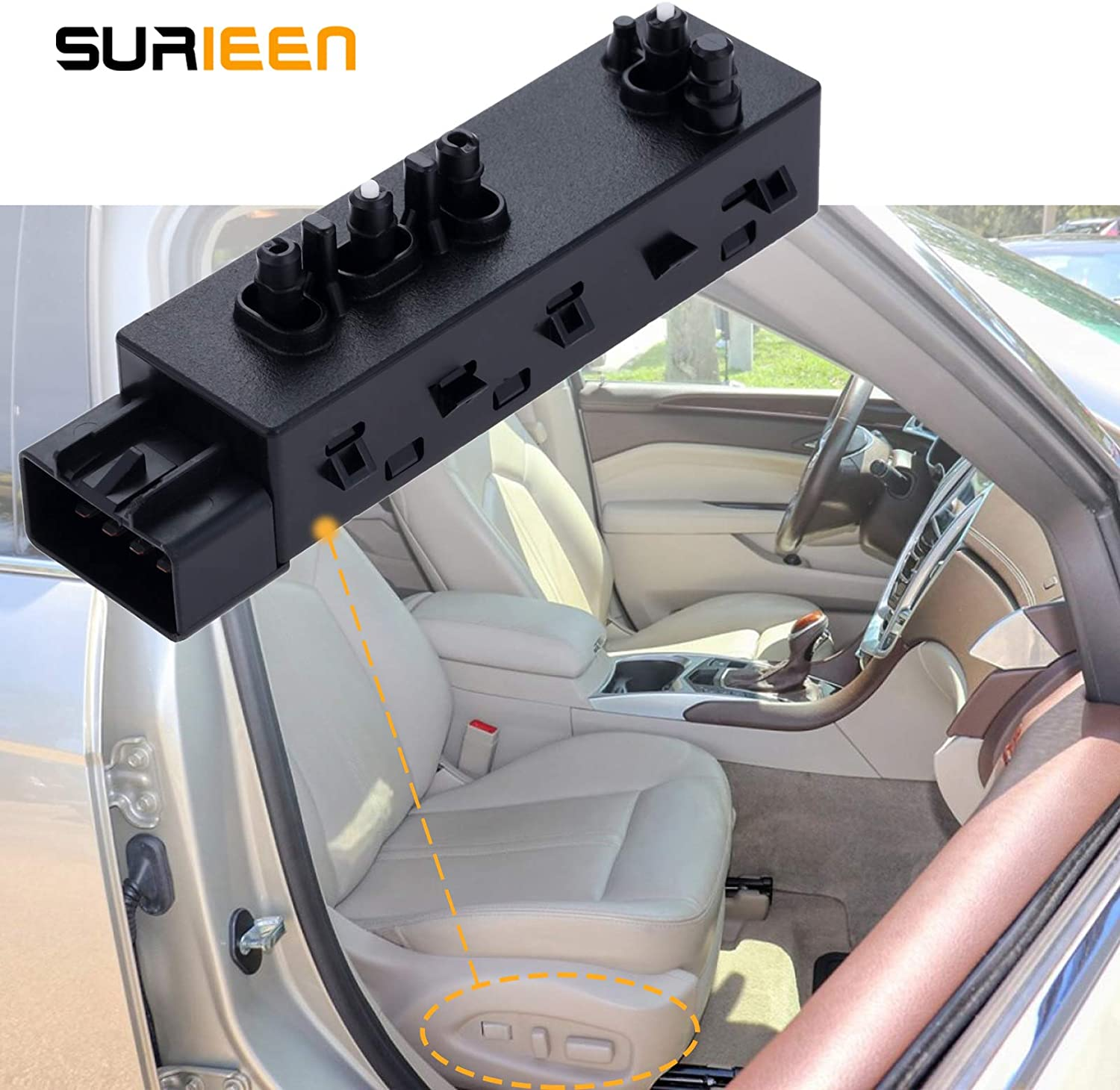 SURIEEN 12451497 Driver Power Seat Switch,10-Pins Front Left Seat Switch Driver Side Seat Adjust Push Button Switch Fits for Buick Chevrolet Cadillac SRX GMC Buick