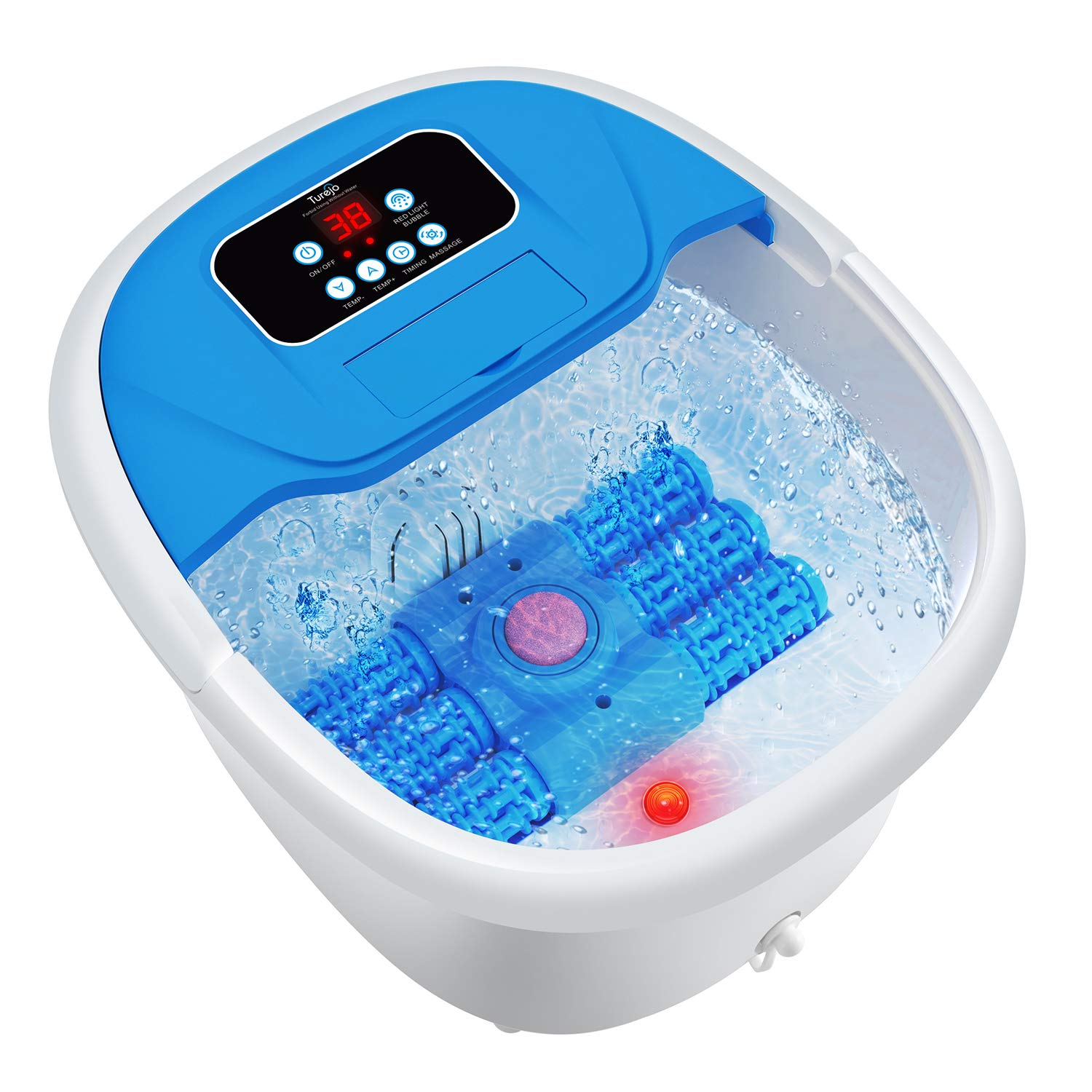 Turejo Foot Spa Massager with Heat Bath, Ultimate Electric Massage Rollers, Adjustable Temperature and Time, Bubbles Jets, Pumice Stone, Infrared Light and Medicine Box – include Pedicure Attachments