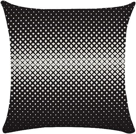 Image ofcaogsh Funda de cojín 2 Piezas, con diseño Abstracto geométrico de Color Blanco y Negro, algodón Mixto, Zt001450, 45x45cm(Double-Sided Print)