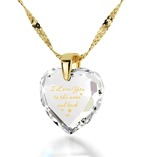Nano Jewelry Gold Plated Heart Necklace I Love You to The Moon and Back Pendant 24k Gold Inscribed CZ, 18 Gold Filled
