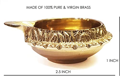 100 Pure Virgin Brass Diwali Diya Indian Pooja Oil Lamp – Golden Engraved Design 2.5 Inch. Deepawali Diya Tea Light Holder Christmas Decoration. Traditional Oil Lamp 50PC Indian Gift Items