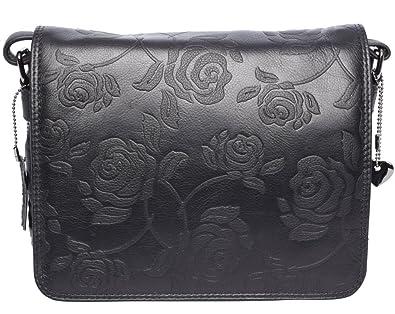 97fcaa732facd Josephine Osthoff Handtaschen-Manufaktur JOSYBAG Ledertasche KANSAS -  schwarz Rosen Tasche handgefertigt
