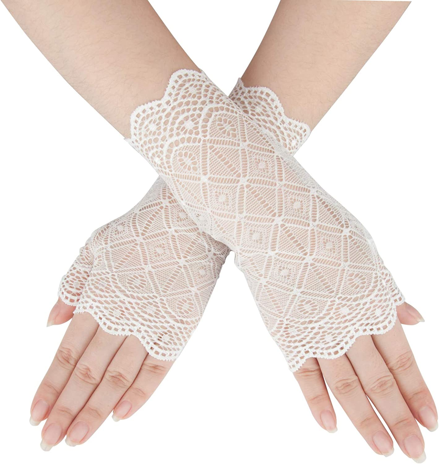 YunKo Short Lace Gloves UV Protection Fingerless Gloves Prom Party Driving Wedding