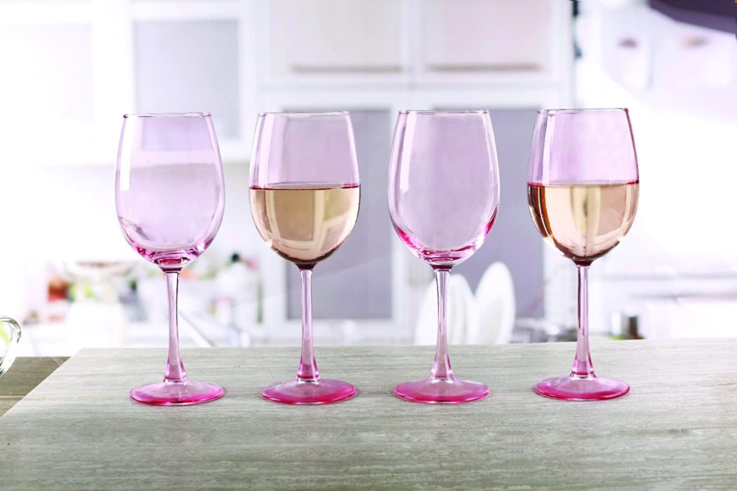 14.5 oz Juice Beer and Bar Liquor Dining Decor Beverage Gifts Set of 4 Cups Kitchen Entertainment Dinnerware Drinking Glasses Glassware for Water Circleware 44670 Calabria Rose Wine