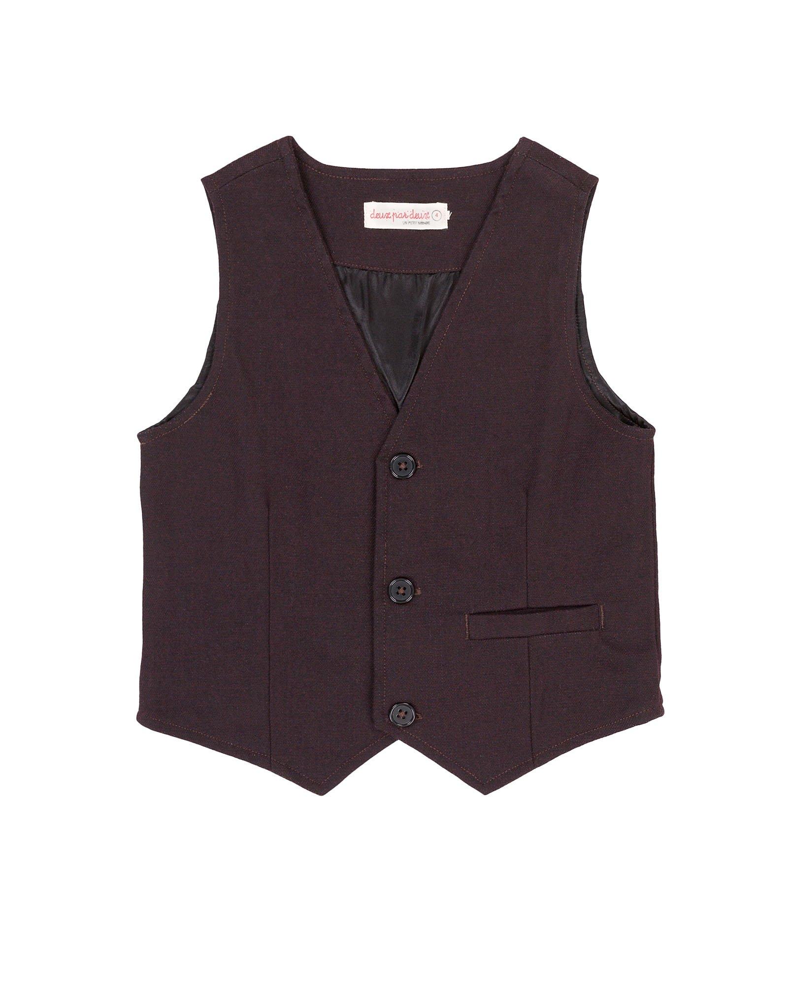 Deux par Deux Boys' Burgundy Vest Suit up, Sizes 2-12 - 7