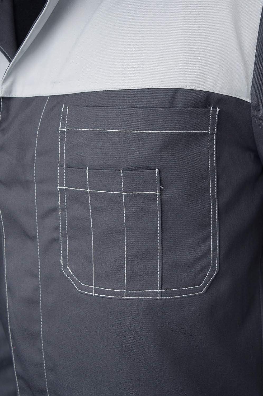 Camice da Lavoro Grigio in Poliestere E Cotone Grembiule