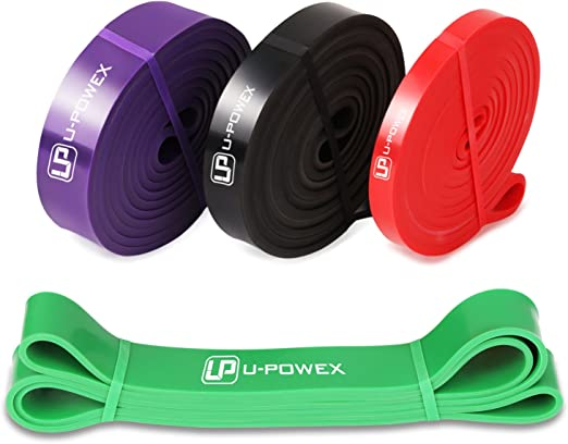 Set of 4 U-POWEX Pull Up Assist Bands  Resistance Bands Unbreakable