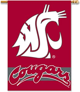 NCAA Washington State Cougars 2-Sided 28-by-40 inch House Banner with Pole Sleeve