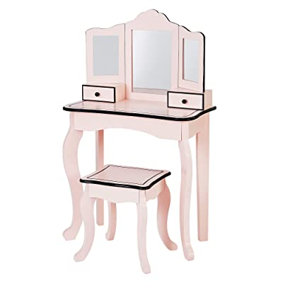 Teamson Kids Adriana Little Lady Gisele Toy Vanity Set-Pink/Black: Kitchen & Dining