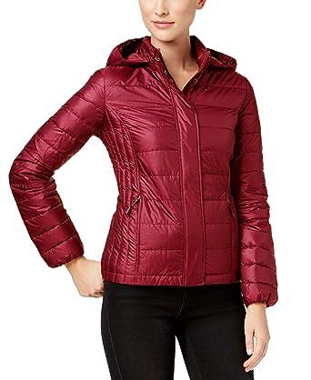 3e9d319f0d3 Amazon.com  32 DEGREES Women Down Jacket w Detachable Hood -Carmine ...
