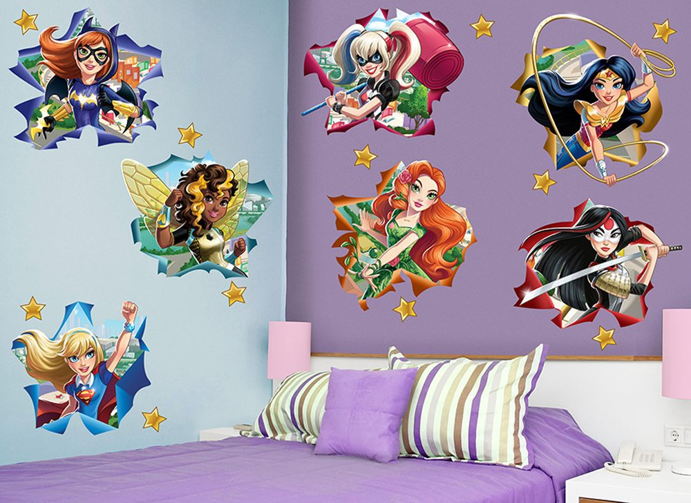 Amazon.com: DC Super Hero Girls Large Star Wall Decal Set: Home U0026 Kitchen