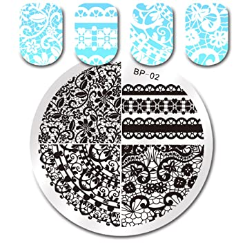 Amazon.com : Born Pretty Lace Nail Art Stamping Plates Template ...
