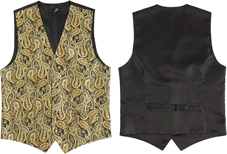 Mildred Jones Gold Floral Jacquard 3Pcs Vest+Tie+Hankerchief Set Slim Fit Business Wedding Sleeveless Waistcoat