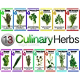 VeganSeeds Culinary Herb Set - 13 Packets of High Quality Seeds -Culinary Sage, Rosemary , Oregano, Italian Parsley, Cilantro, Thyme, Dill Bouquet, Mustard, Chives, Marjoram, Summer Savory,spearmint, Garlic Chives & Sweet Basil