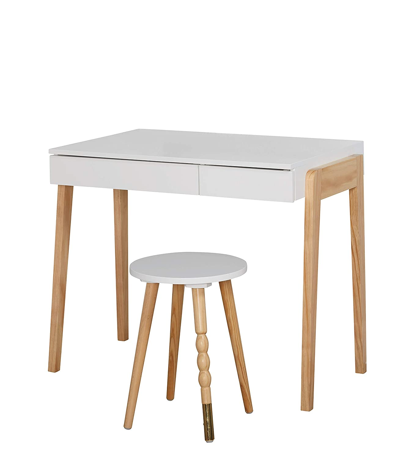 The Mezzanine Shoppe Riley Modern Two Tone Home Office Desk and Stool Set, 2 Piece, White