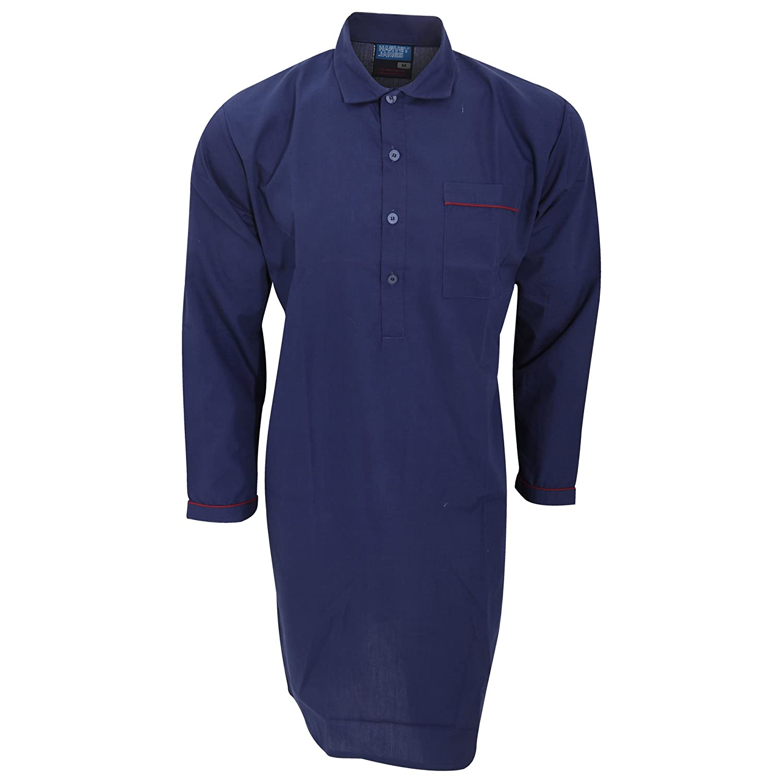 Universal Textiles Mens Plain Long Sleeved Woven Pyjama Nightshirt