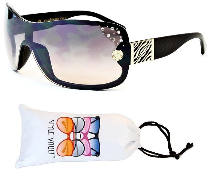 6e4e5823e4 V06-vp Style Vault Aviator Shield Rimless Sunglasses (F3102R Black Gold