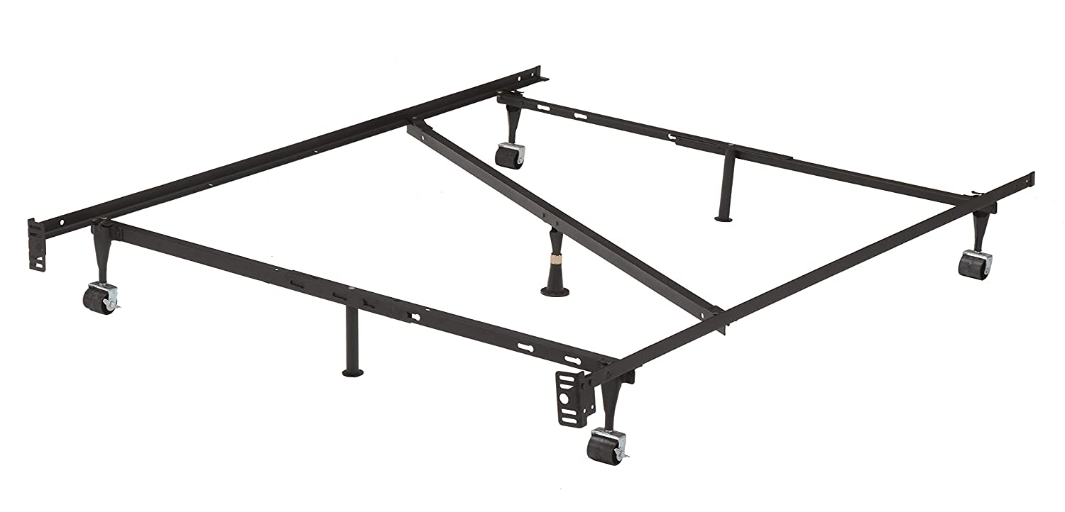 7 Leg Heavy Duty Adjustable Metal Full Size Bed Frame With Center Support  Rug Rollers And Locking Wheels. By 2K Furniture Designs