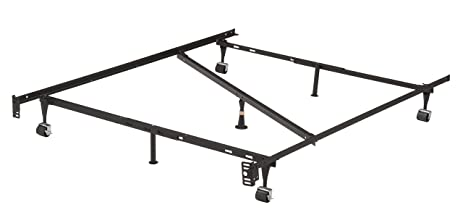 7leg heavy duty adjustable metal full size bed frame with center support rug rollers