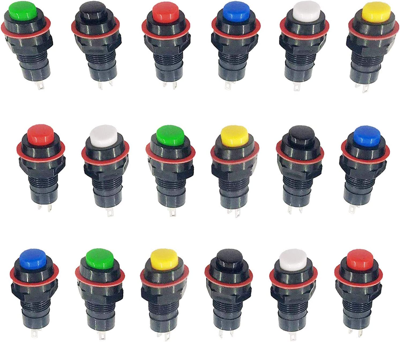 (18Pcs) MCIGICM 12mm Self-Locking Latching Push Button Switch