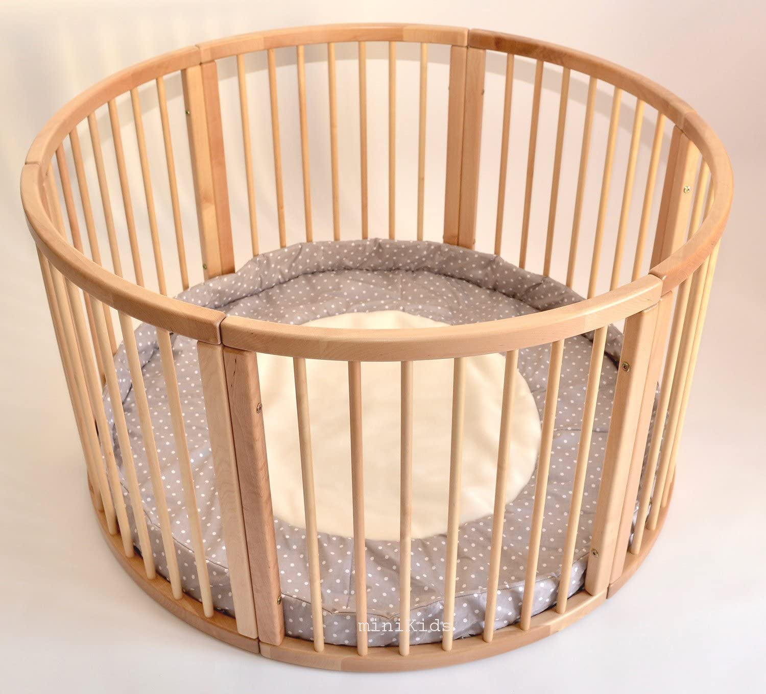 Solid Wood Round Playpen with Soft Layer Diameter 120 cm