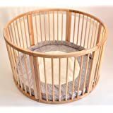 VERY LARGE WOODEN BABY PLAYPEN (Ø 120cm) WITH PLAYMAT (DOTS BROWN POLAR)
