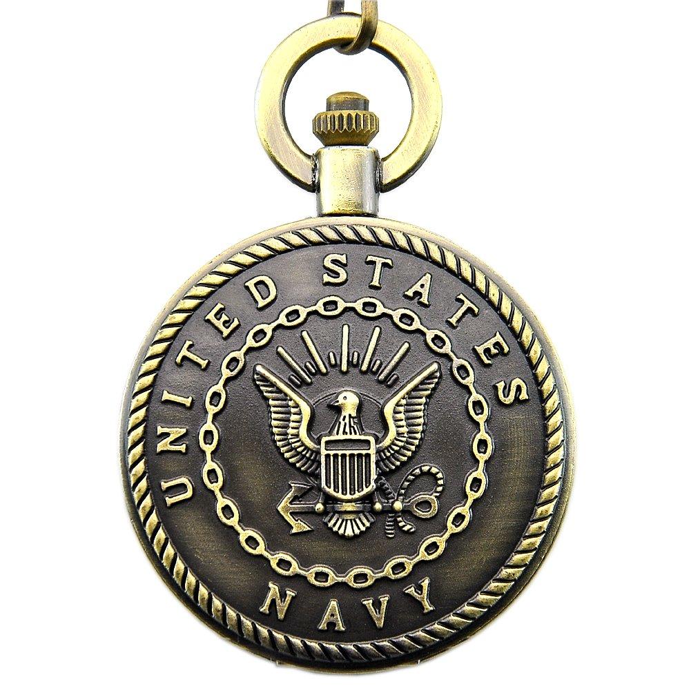 Engraved United States Navy Mark Pocket Quartz Men's Watch Waist Chain with Gift Box