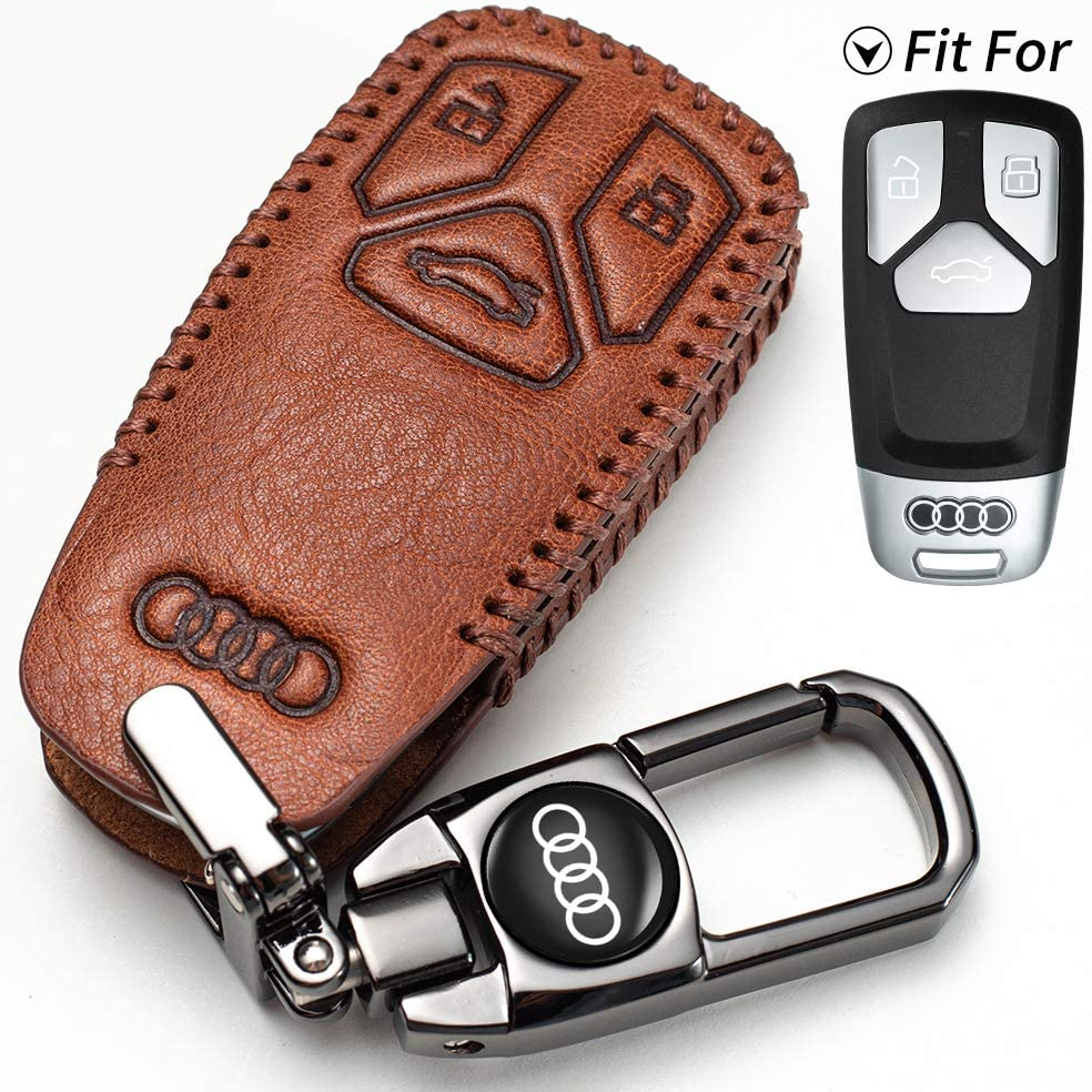 genuine leather car Key fob Cover suit for Audi A4L A6L Q5 A5 A7 A8 S5 S7 Keyless Entry key fob case,key holder accessories