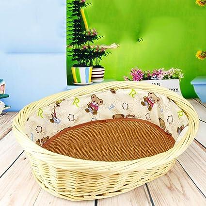 perrera verano caseta desmontable lavable jerarquía del animal doméstico de ratán, pequeña jerarquía del animal