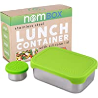 NomBox Leak Proof Stainless Steel Food Storage Container | Bento Lunch Box with Soft & Flexible Silicone Lid | Bundle…