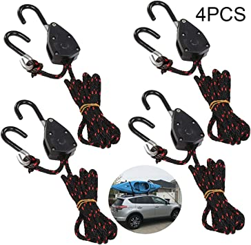 """Details about  / 4PCS 1//8/"""" Adjustable Heavy Duty Rope Hanger Ratchet Kayak and Canoe 6.0 Feet"""