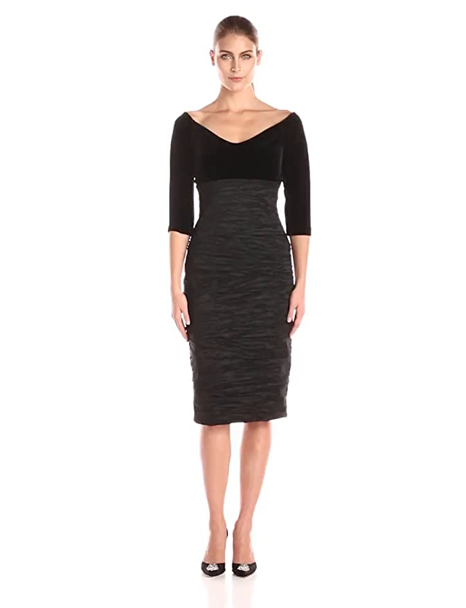 5c4b7fb4cf42 Amazon.com: Alex Evenings Women's Off-The-Shoulder Velvet Sleeve Sheath  Dress: Clothing