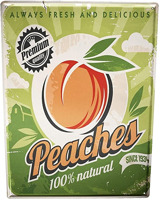 DOGT Tin Sign Metal Plate Plaque Nostalgic Fun Peaches 7.8X11.8 ...