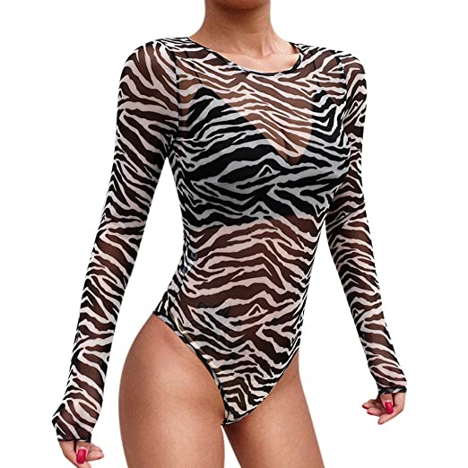 4864ced461 Amazon.com  Womens Sexy Sheer Striped Long Sleeve Bodysuit Tops Clubwear T  Shirt Perspective Sexy Blouse Top  Clothing