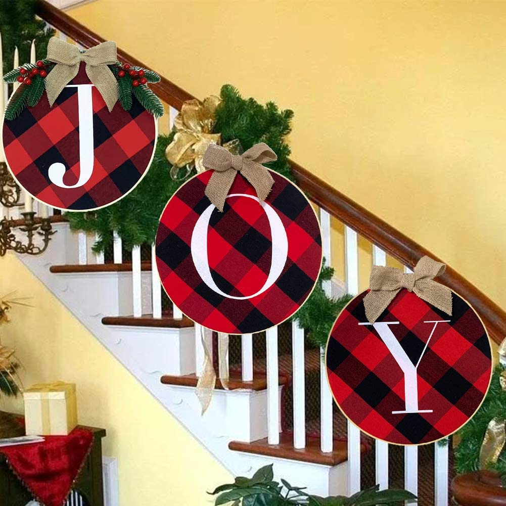 COKACO Christmas Wreath, Joy Sign Merry Christmas Front Door Window Stairs Wreaths Christmas Decorations Home Décor - 3PCS