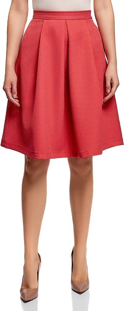 oodji Ultra Mujer Falda Acampanada de Tejido Texturizado, Rojo, ES ...