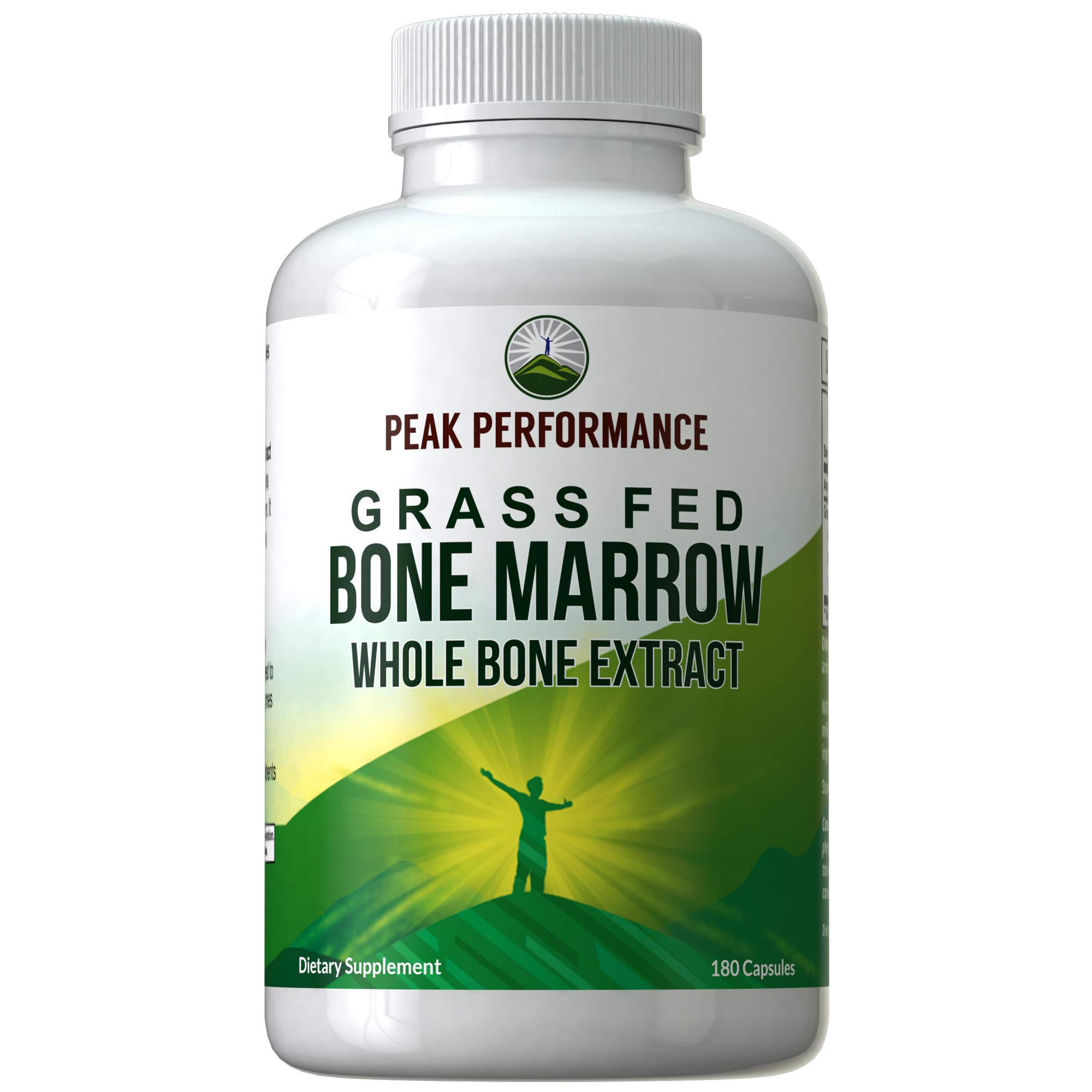 Grass Fed Bone Marrow - Whole Bone Extract Supplement 180 Capsules by Peak Performance. Superfood Pills Rich in Collagen, Vitamins, Amino Acids. from Bone Matrix, Marrow, Cartilage. Ancestral Tablets by Peak Performance