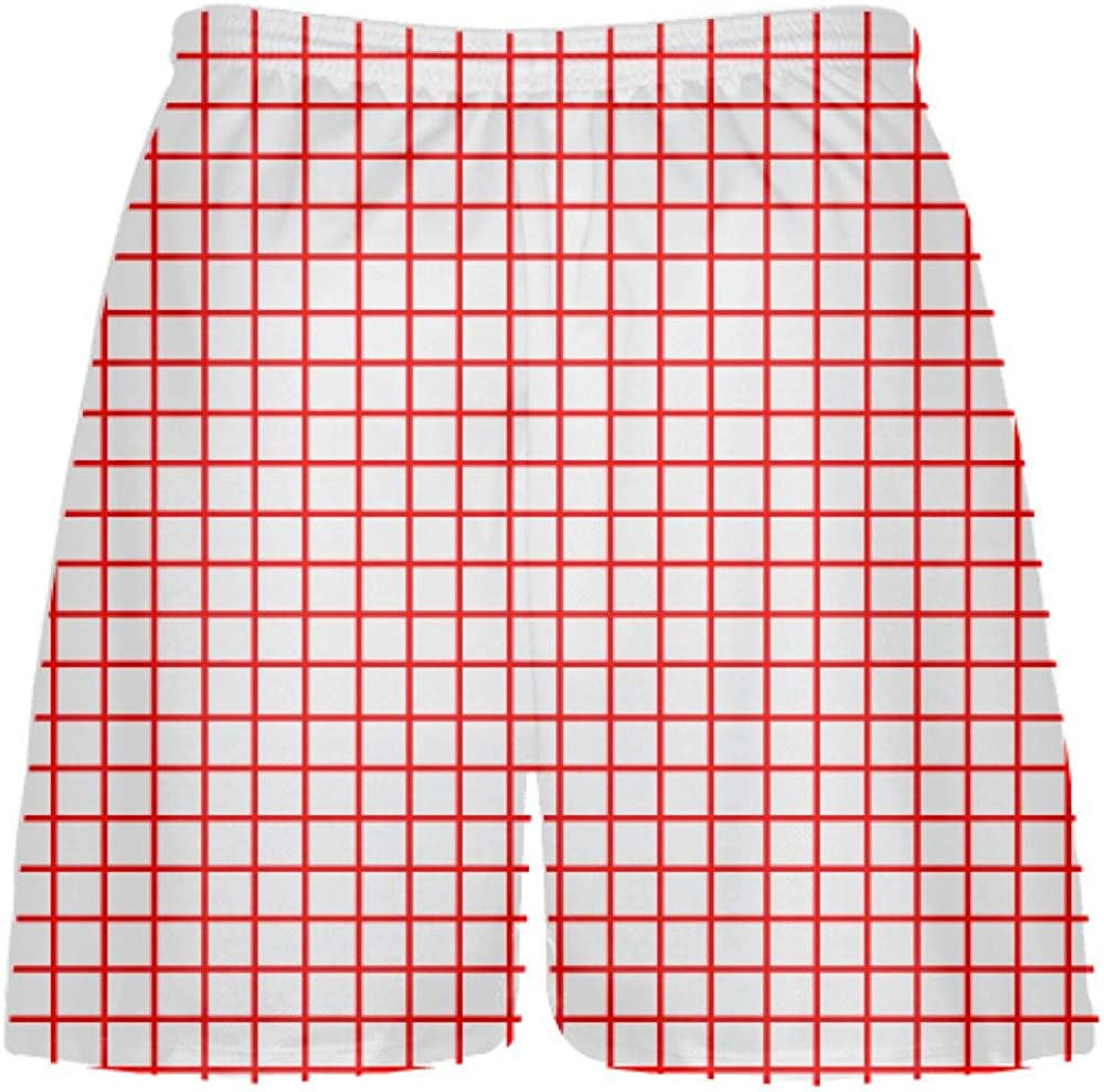Youth Lacrosse Shorts Youth Youth Grid White Red Lacrosse Shorts White Pink Lax Shorts