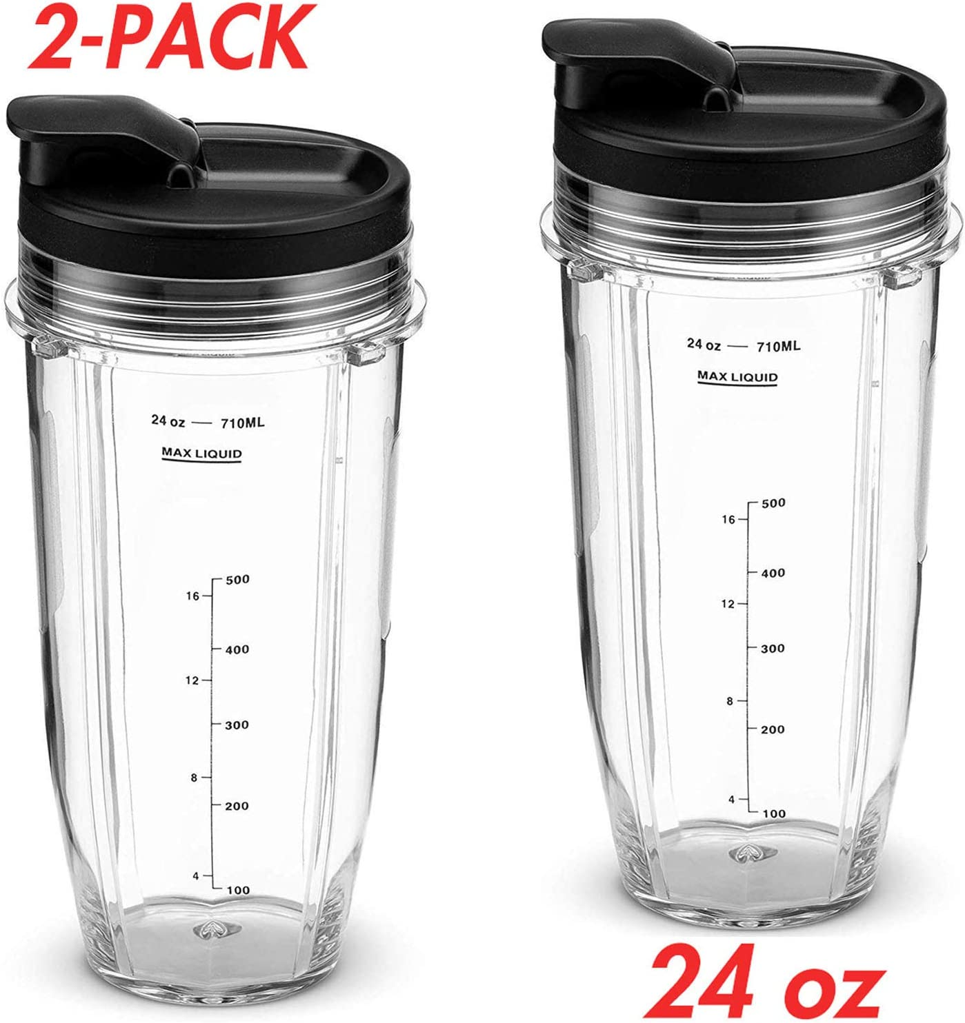 Pack of 2 Nutri Ninja Replacement Parts 24 oz Cups+Lids Compatible with BL480, BL490, BL640, BL680 Auto IQ Series Blenders