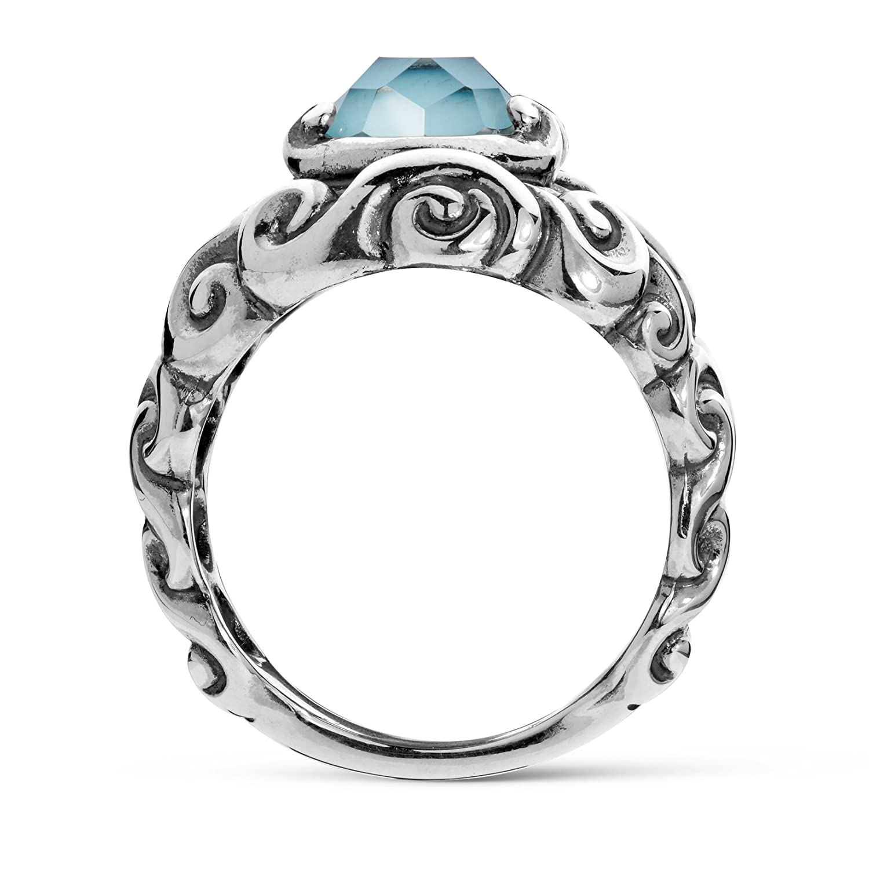 925 Silver Sz 5 thru 10 Gemstone Split Band Ring Choice of 4 Colors Relios