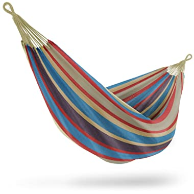 Sorbus Brazilian Double Hammock - Extra-Long Two Person Portable Hammock Bed for Indoor or Outdoor Spaces - Hanging Rope, Carrying Pouch Included (Blue/Sand/Purple/Red Stripes)