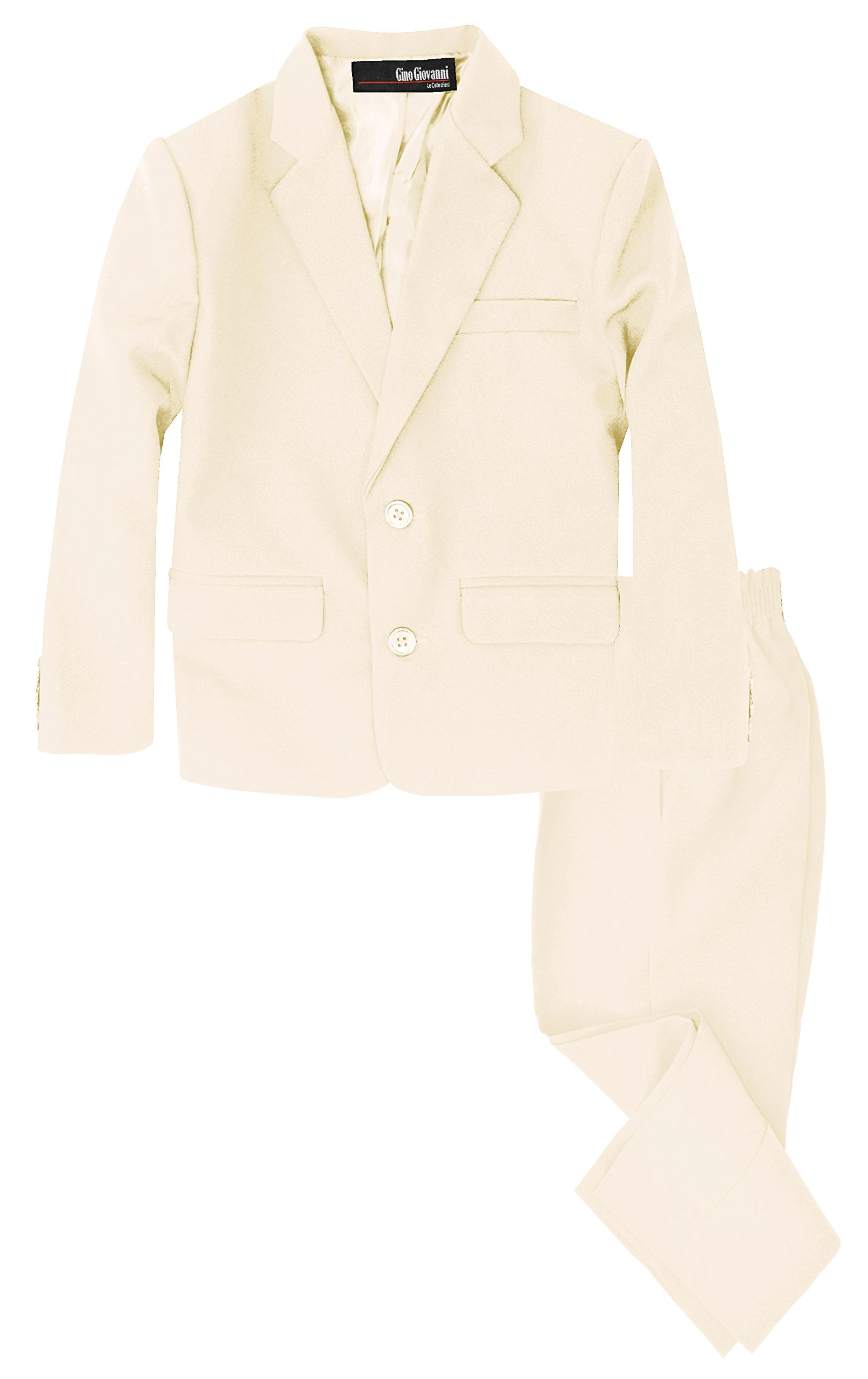 G218 Boys 2 Piece Suit Set Toddler to Teen (14, Ivory)