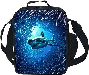 CAIWEI Animal Dinosaur Cat Shark Husky and Dolphin Insulated Lunch Box Cooler Bag (SHARK 1)