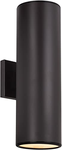 Kira Home Enzo 16 2-Light Modern Indoor Outdoor Wall Sconce, Weatherproof Up Down Light, Cylinder Metal Shade Oil Rubbed Bronze Finish