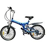 Colorful-life 20インチ ミニベロ 高炭素鋼 折り畳み自転車シマノディレイラー シマノ 6段変速 マウンテンバイク フロント&リアサスペンション 男女通用